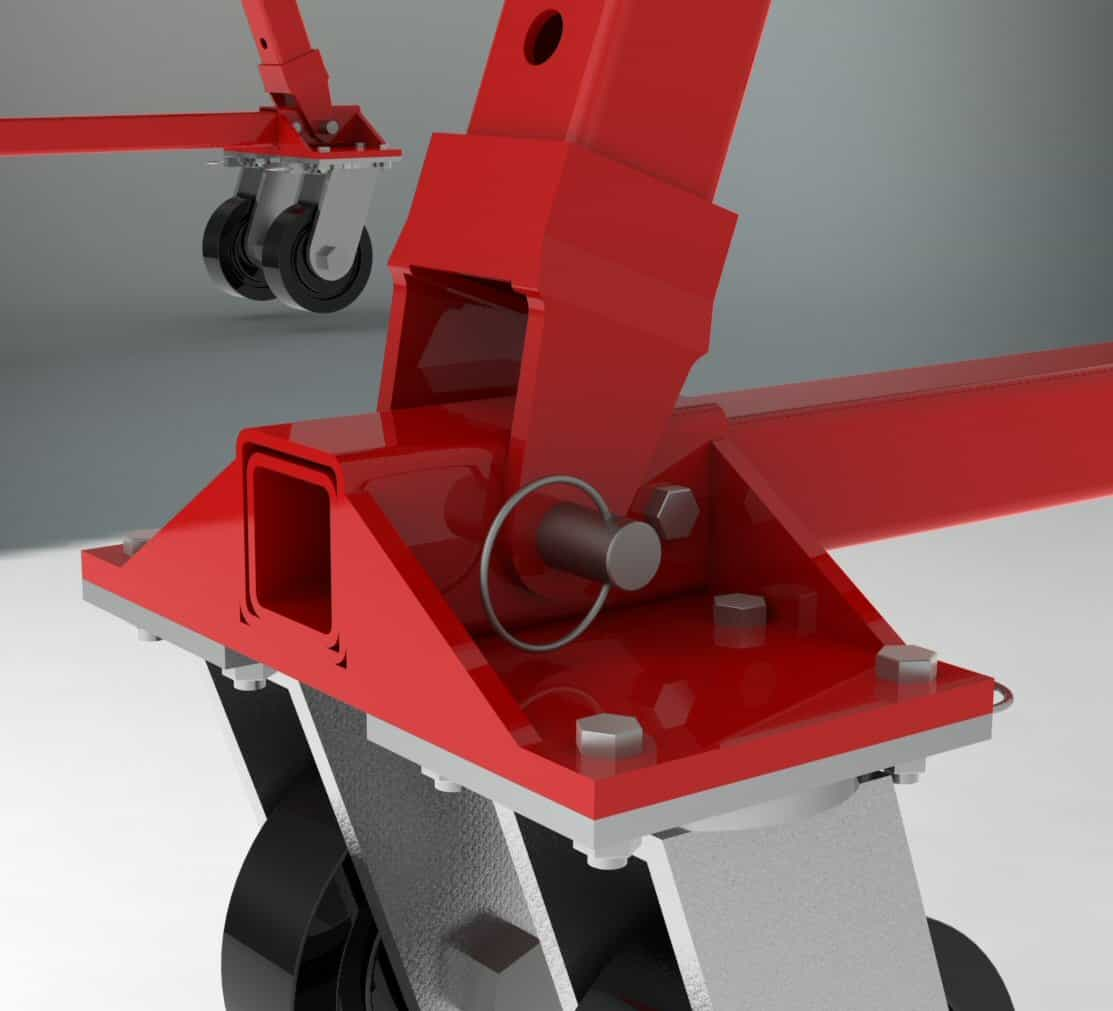 Caster Frame Pin at the Base of the Leg Transmits the Load Across a Single Line | Wallace Cranes