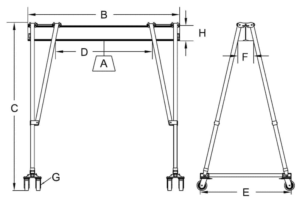 Hippolift Steel Fixed-Height Portable Gantry Crane Dimensional Drawing (High Capacity)   Wallace Cranes