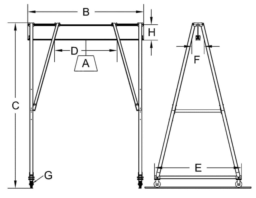 15 ton Gantry Crane Dimensional Sketch   Wallace Cranes